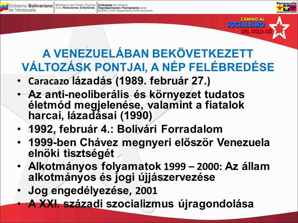 A VENEZUELÁBAN BEKÖVETKEZETT VÁLTOZÁSK PONTJAI, A NÉP FELÉBREDÉSE Caracazo lázadás ( 1989. február 27. ) Az anti-neoliberális és környezet tudatos éle
