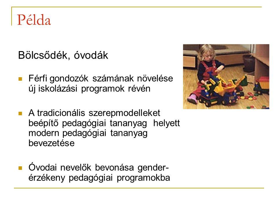 Bölcsődék, óvodák Férfi gondozók számának növelése új iskolázási programok révén A tradicionális szerepmodelleket beépítő pedagógiai tananyag helyett modern pedagógiai tananyag bevezetése Óvodai nevelők bevonása gender- érzékeny pedagógiai programokba