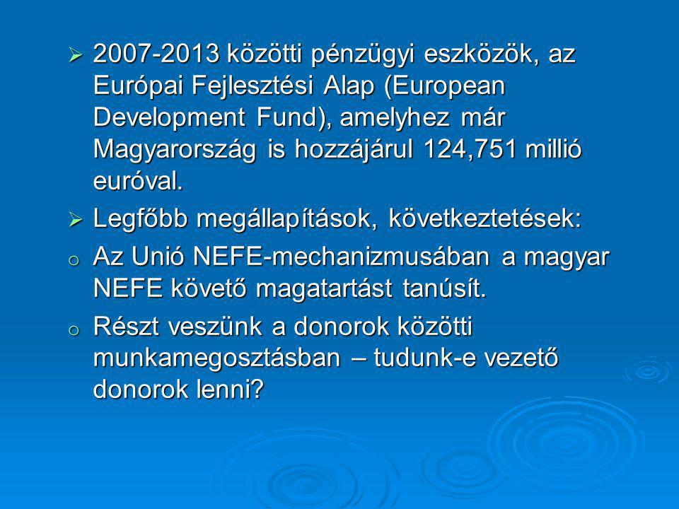  2007-2013 közötti pénzügyi eszközök, az Európai Fejlesztési Alap (European Development Fund), amelyhez már Magyarország is hozzájárul 124,751 millió