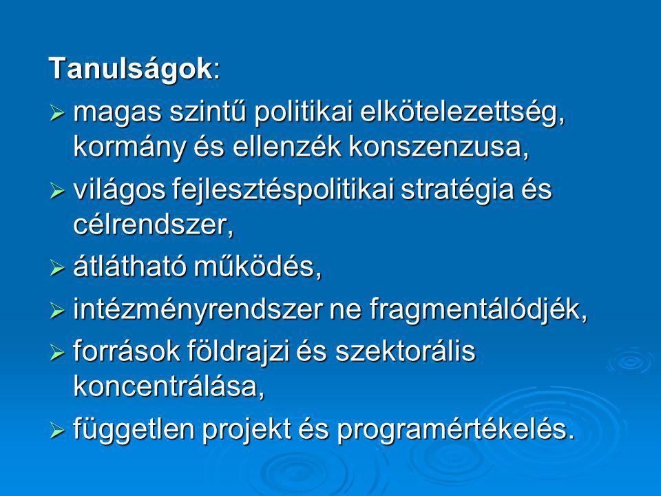Tanulságok:  magas szintű politikai elkötelezettség, kormány és ellenzék konszenzusa,  világos fejlesztéspolitikai stratégia és célrendszer,  átlát