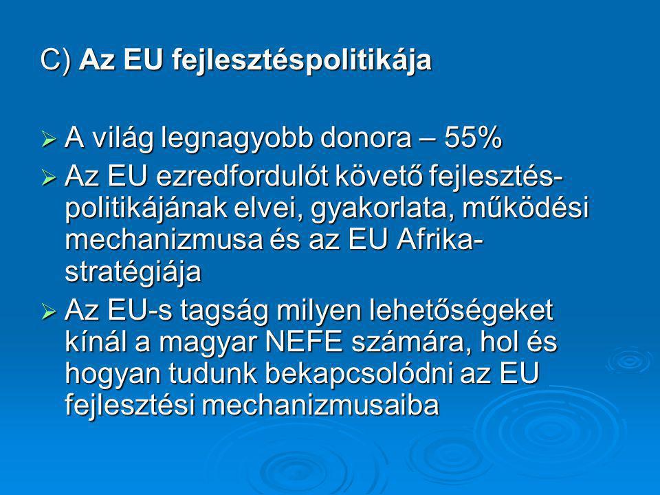 C) Az EU fejlesztéspolitikája  A világ legnagyobb donora – 55%  Az EU ezredfordulót követő fejlesztés- politikájának elvei, gyakorlata, működési mec