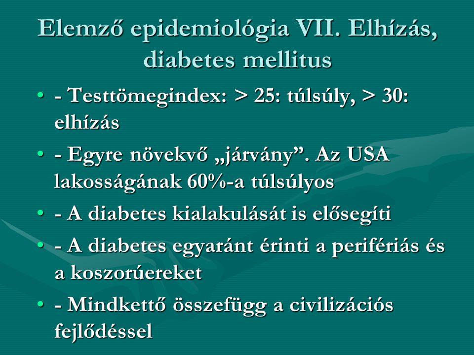 Elemző epidemiológia VII. Elhízás, diabetes mellitus - Testtömegindex: > 25: túlsúly, > 30: elhízás- Testtömegindex: > 25: túlsúly, > 30: elhízás - Eg