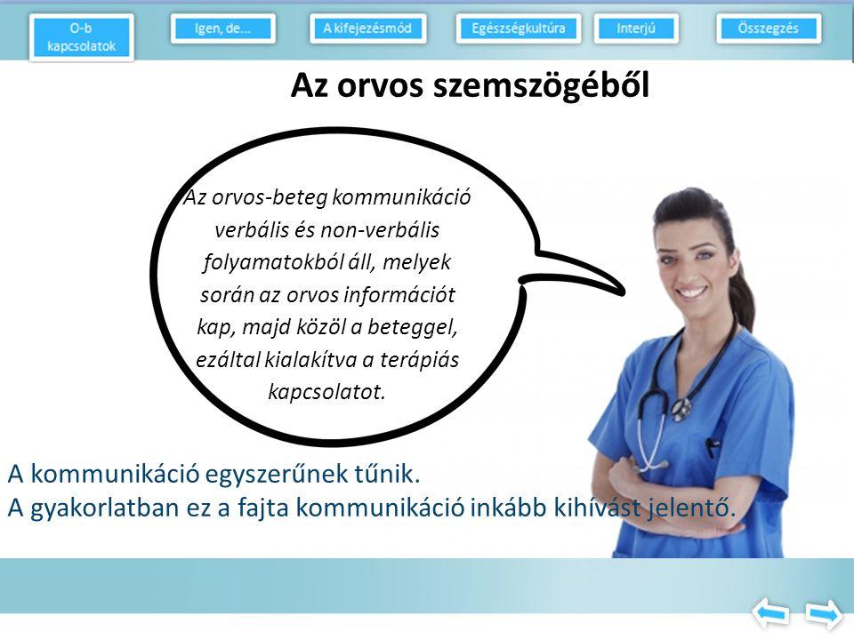 Az orvos-beteg kommunikáció verbális és non-verbális folyamatokból áll, melyek során az orvos információt kap, majd közöl a beteggel, ezáltal kialakítva a terápiás kapcsolatot.