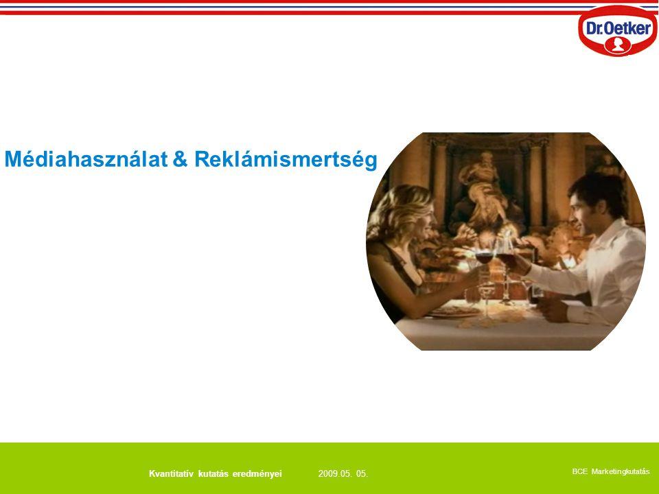 2009.05. 05. BCE Marketingkutatás Kvantitatív kutatás eredményei Médiahasználat & Reklámismertség
