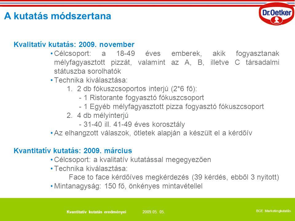 2009.05. 05. BCE Marketingkutatás Kvantitatív kutatás eredményei Kvalitatív kutatás: 2009. november Célcsoport: a 18-49 éves emberek, akik fogyasztana
