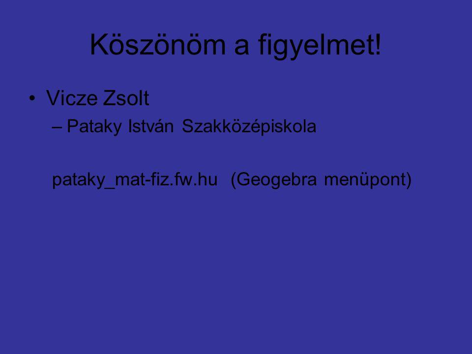 Köszönöm a figyelmet! Vicze Zsolt –Pataky István Szakközépiskola pataky_mat-fiz.fw.hu (Geogebra menüpont)