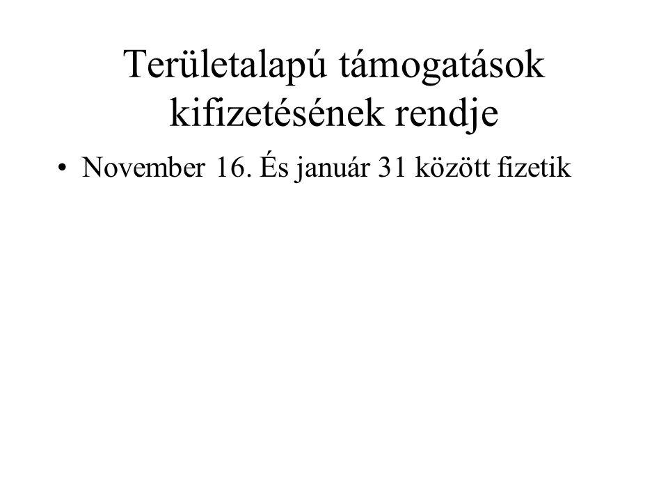 Területalapú támogatások kifizetésének rendje November 16. És január 31 között fizetik