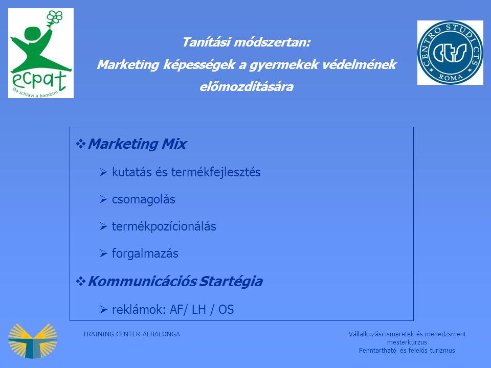 TRAINING CENTER ALBALONGAVállalkozási ismeretek és menedzsment mesterkurzus Fenntartható és felelős turizmus Tanítási módszertan: Marketing képességek a gyermekek védelmének előmozdítására  Marketing Mix  kutatás és termékfejlesztés  csomagolás  termékpozícionálás  forgalmazás  Kommunicációs Startégia  reklámok: AF/ LH / OS