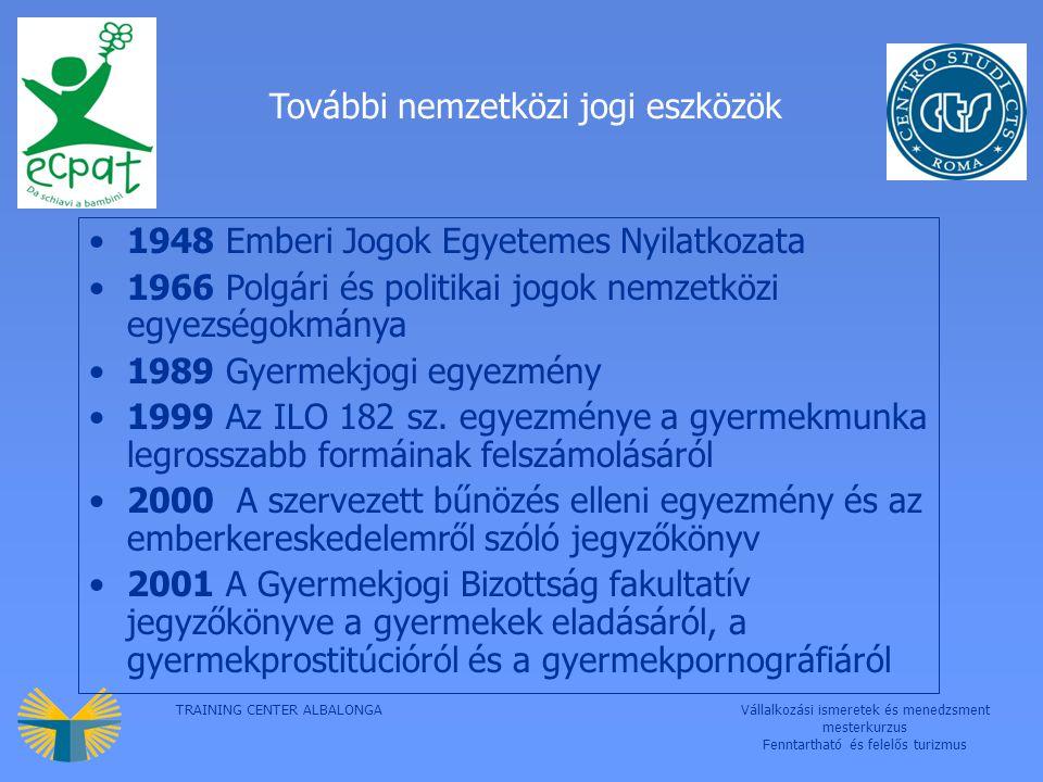 TRAINING CENTER ALBALONGAVállalkozási ismeretek és menedzsment mesterkurzus Fenntartható és felelős turizmus További nemzetközi jogi eszközök 1948 Emberi Jogok Egyetemes Nyilatkozata 1966 Polgári és politikai jogok nemzetközi egyezségokmánya 1989 Gyermekjogi egyezmény 1999 Az ILO 182 sz.
