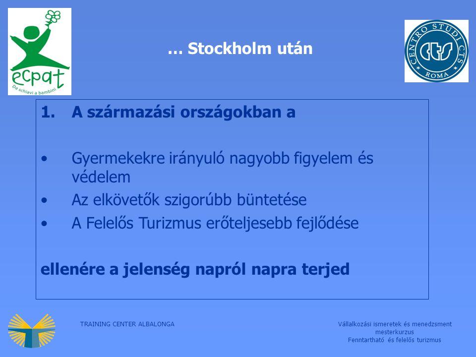 TRAINING CENTER ALBALONGAVállalkozási ismeretek és menedzsment mesterkurzus Fenntartható és felelős turizmus … Stockholm után 1.A származási országokban a Gyermekekre irányuló nagyobb figyelem és védelem Az elkövetők szigorúbb büntetése A Felelős Turizmus erőteljesebb fejlődése ellenére a jelenség napról napra terjed