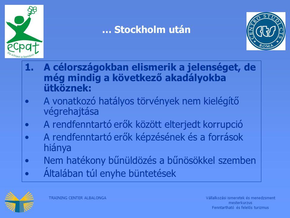 TRAINING CENTER ALBALONGAVállalkozási ismeretek és menedzsment mesterkurzus Fenntartható és felelős turizmus … Stockholm után 1.A célországokban elismerik a jelenséget, de még mindig a következő akadályokba ütköznek: A vonatkozó hatályos törvények nem kielégítő végrehajtása A rendfenntartó erők között elterjedt korrupció A rendfenntartó erők képzésének és a források hiánya Nem hatékony bűnüldözés a bűnösökkel szemben Általában túl enyhe büntetések