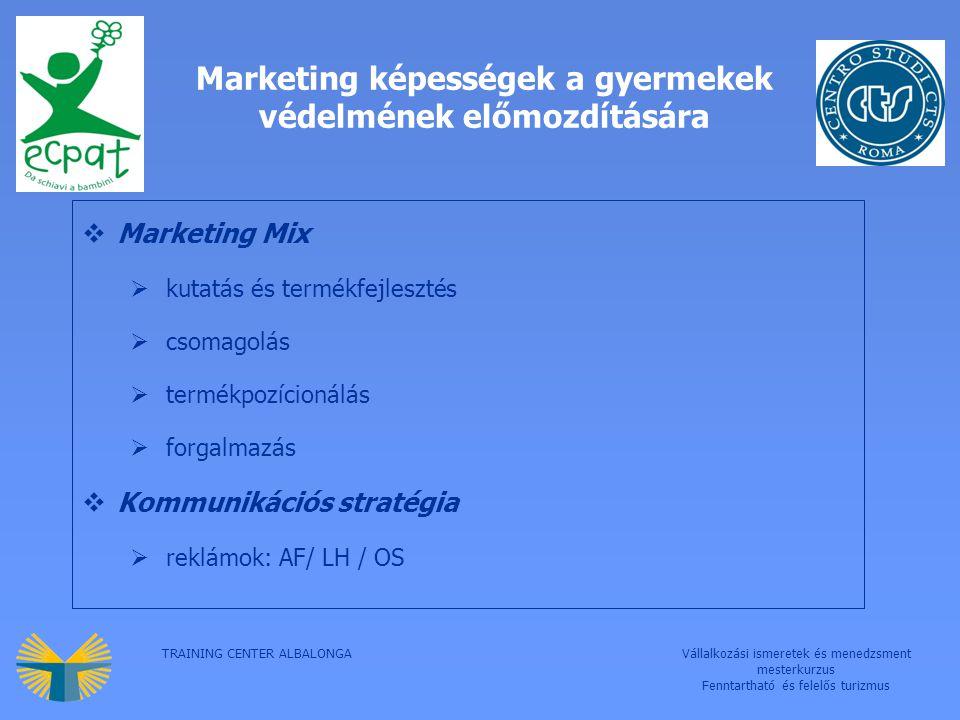 TRAINING CENTER ALBALONGAVállalkozási ismeretek és menedzsment mesterkurzus Fenntartható és felelős turizmus Marketing képességek a gyermekek védelmének előmozdítására  Marketing Mix  kutatás és termékfejlesztés  csomagolás  termékpozícionálás  forgalmazás  Kommunikációs stratégia  reklámok: AF/ LH / OS