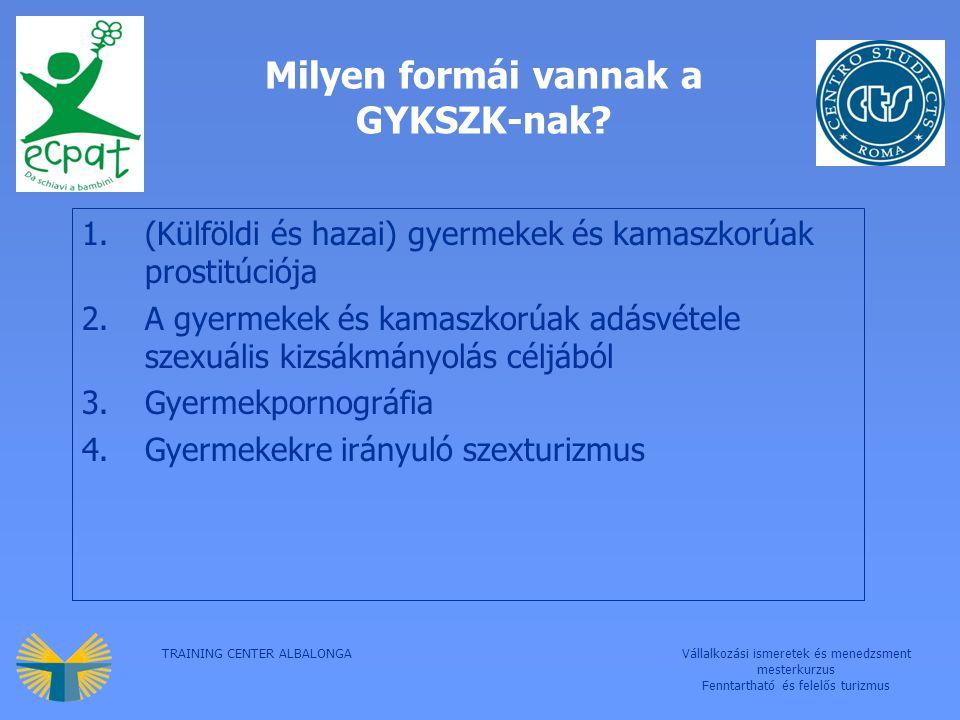 TRAINING CENTER ALBALONGAVállalkozási ismeretek és menedzsment mesterkurzus Fenntartható és felelős turizmus Milyen formái vannak a GYKSZK-nak.