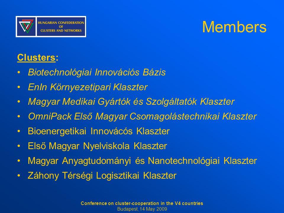 Members Clusters: Biotechnológiai Innovációs Bázis EnIn Környezetipari Klaszter Magyar Medikai Gyártók és Szolgáltatók Klaszter OmniPack Első Magyar C