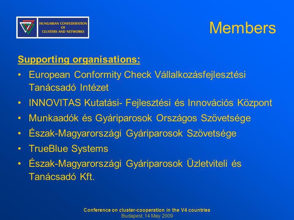 Members Supporting organisations: European Conformity Check Vállalkozásfejlesztési Tanácsadó Intézet INNOVITAS Kutatási- Fejlesztési és Innovációs Köz