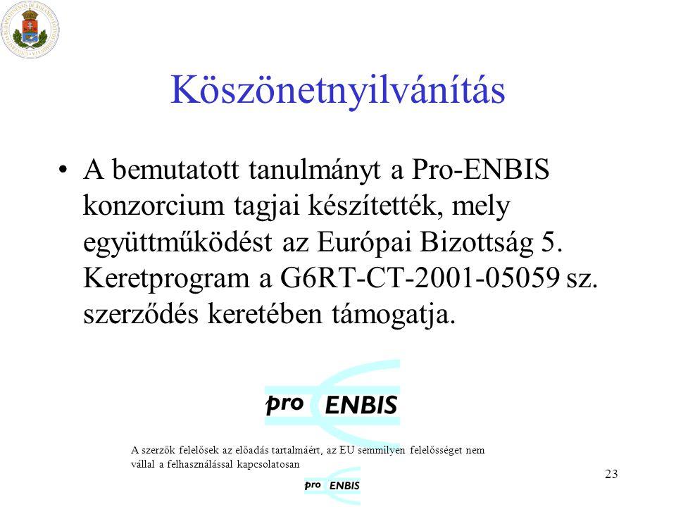 23 Köszönetnyilvánítás A bemutatott tanulmányt a Pro-ENBIS konzorcium tagjai készítették, mely együttműködést az Európai Bizottság 5. Keretprogram a G
