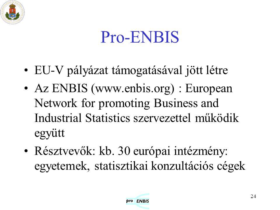 24 Pro-ENBIS EU-V pályázat támogatásával jött létre Az ENBIS (www.enbis.org) : European Network for promoting Business and Industrial Statistics szerv