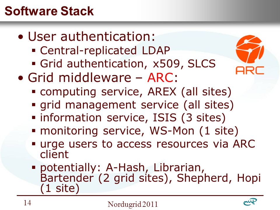 Nemzeti Információs Infrastruktúra Fejlesztési Intézet Nordugrid Software Stack User authentication:  Central-replicated LDAP  Grid authentication, x509, SLCS Grid middleware – ARC:  computing service, AREX (all sites)  grid management service (all sites)  information service, ISIS (3 sites)  monitoring service, WS-Mon (1 site)  urge users to access resources via ARC client  potentially: A-Hash, Librarian, Bartender (2 grid sites), Shepherd, Hopi (1 site)