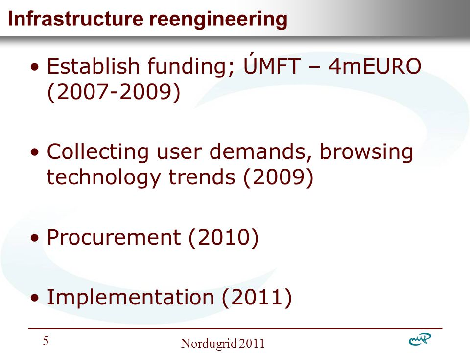Nemzeti Információs Infrastruktúra Fejlesztési Intézet Nordugrid 2011 5 Infrastructure reengineering Establish funding; ÚMFT – 4mEURO (2007-2009) Collecting user demands, browsing technology trends (2009) Procurement (2010) Implementation (2011)