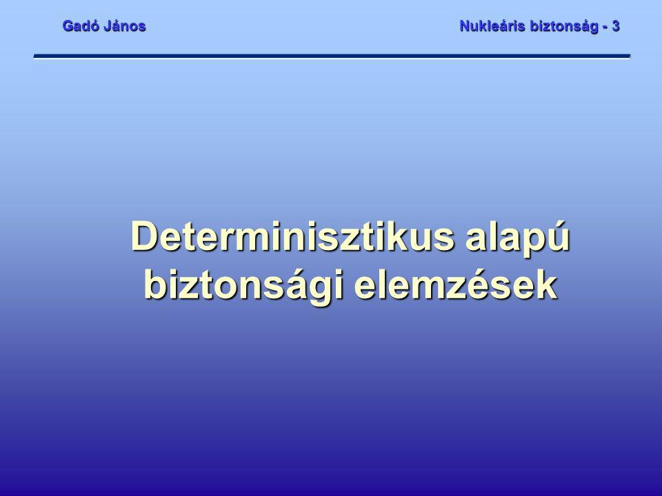 Gadó JánosNukleáris biztonság - 3 Determinisztikus alapú biztonsági elemzések