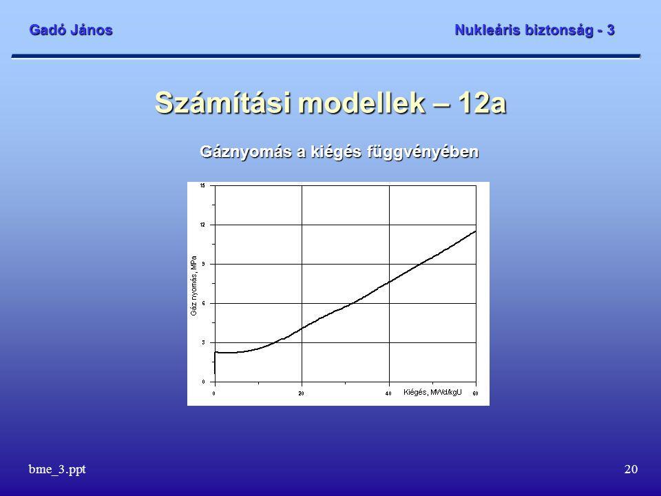 Gadó János Nukleáris biztonság - 3 bme_3.ppt20 Számítási modellek – 12a Gáznyomás a kiégés függvényében