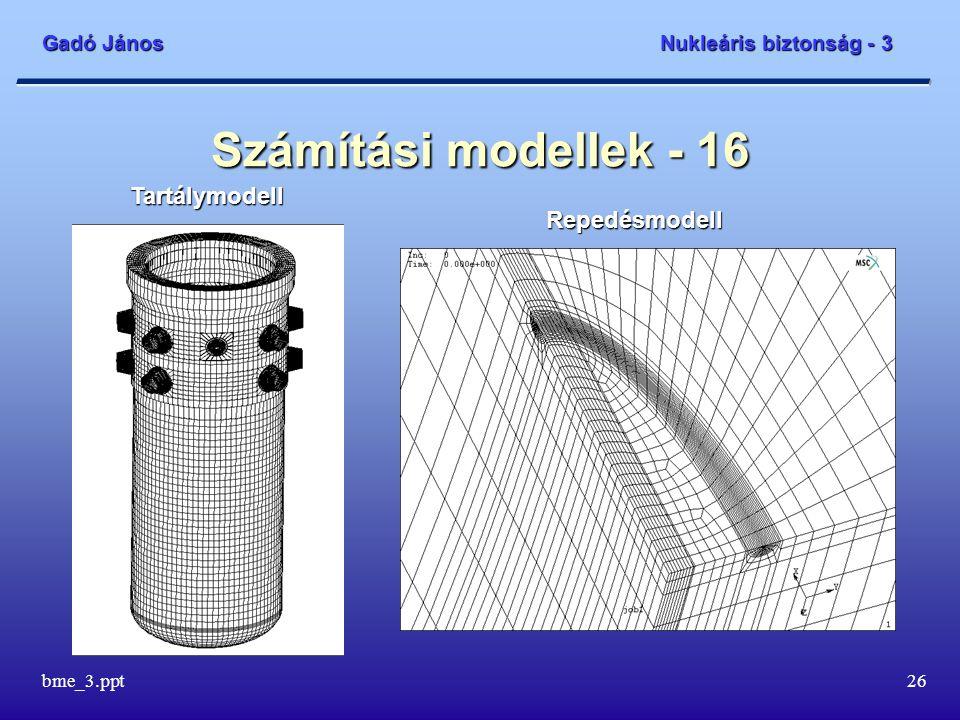 Gadó János Nukleáris biztonság - 3 bme_3.ppt26 Számítási modellek - 16 Repedésmodell Tartálymodell