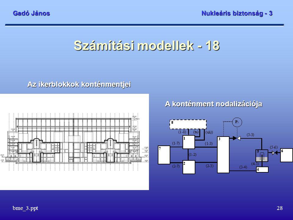 Gadó János Nukleáris biztonság - 3 bme_3.ppt28 Számítási modellek - 18 A konténment nodalizációja Az ikerblokkok konténmentjei