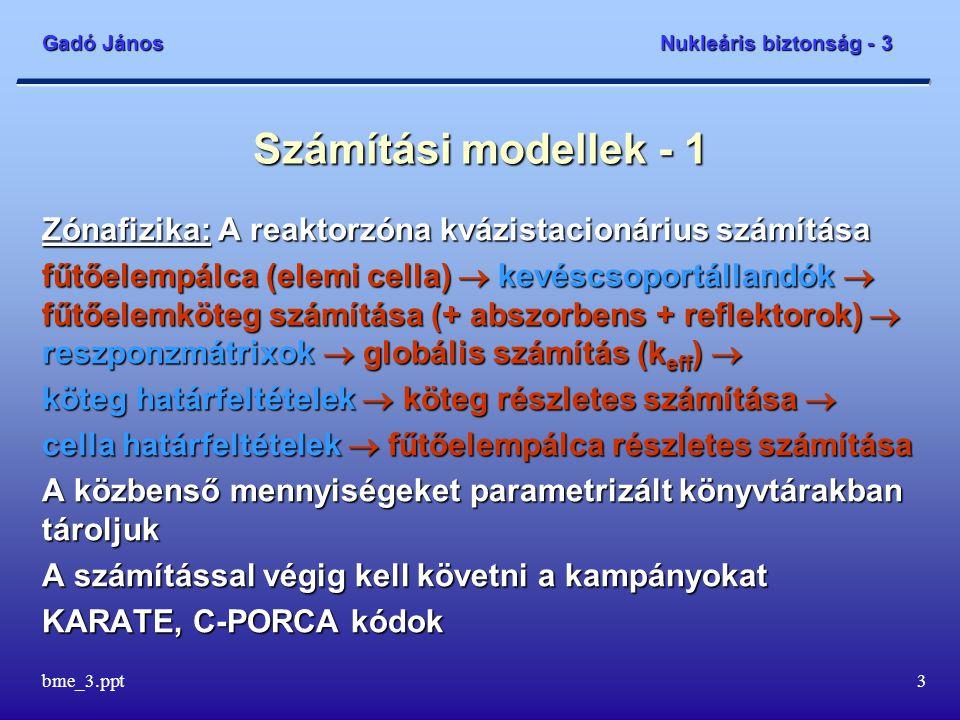 Gadó János Nukleáris biztonság - 3 bme_3.ppt3 Számítási modellek - 1 Zónafizika: A reaktorzóna kvázistacionárius számítása fűtőelempálca (elemi cella)