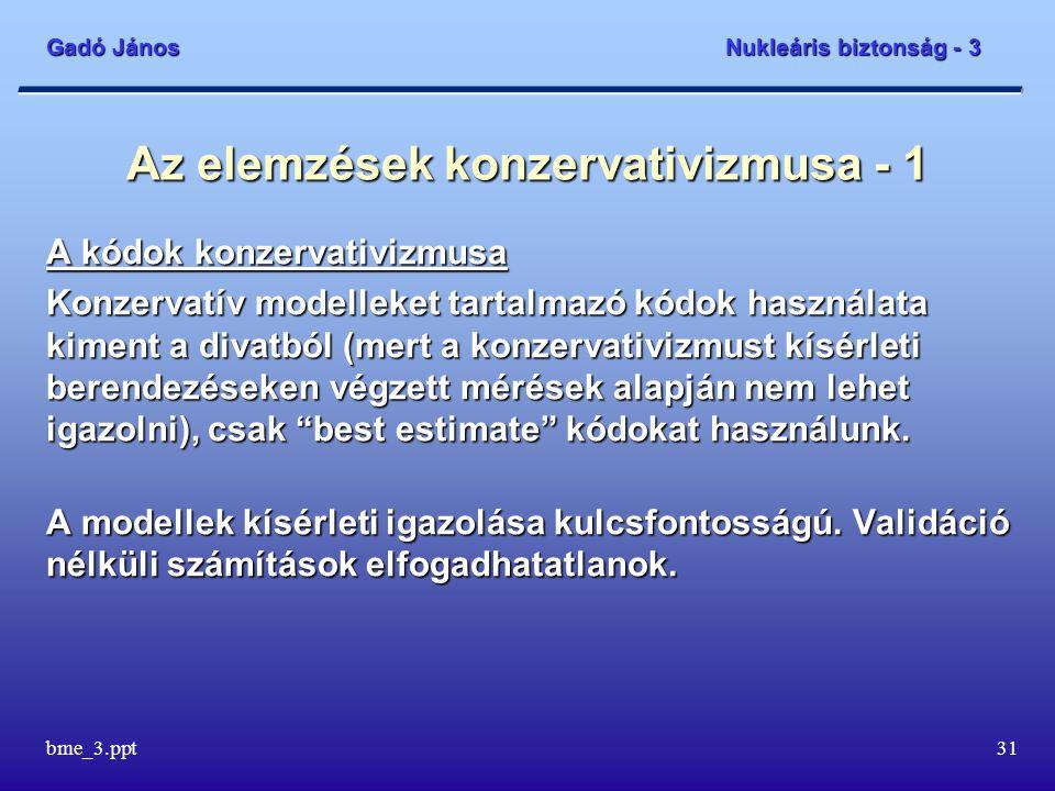 Gadó János Nukleáris biztonság - 3 bme_3.ppt31 Az elemzések konzervativizmusa - 1 A kódok konzervativizmusa Konzervatív modelleket tartalmazó kódok ha