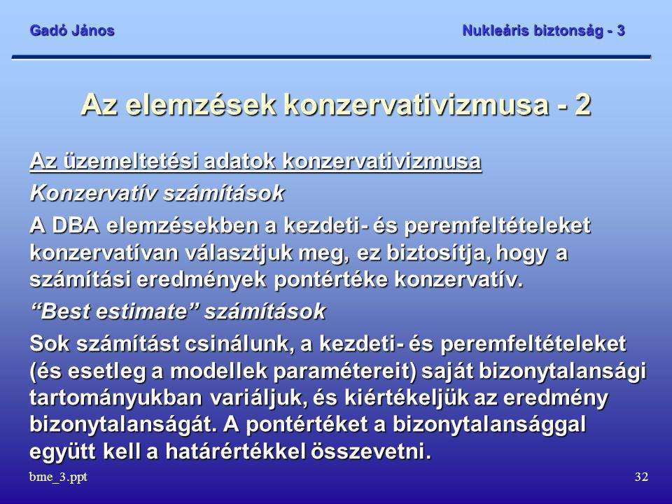 Gadó János Nukleáris biztonság - 3 bme_3.ppt32 Az elemzések konzervativizmusa - 2 Az üzemeltetési adatok konzervativizmusa Konzervatív számítások A DB