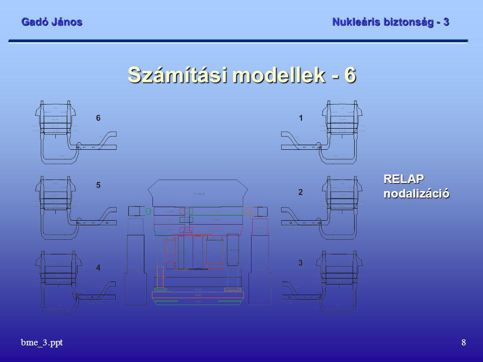 Gadó János Nukleáris biztonság - 3 bme_3.ppt8 Számítási modellek - 6 RELAP nodalizáció