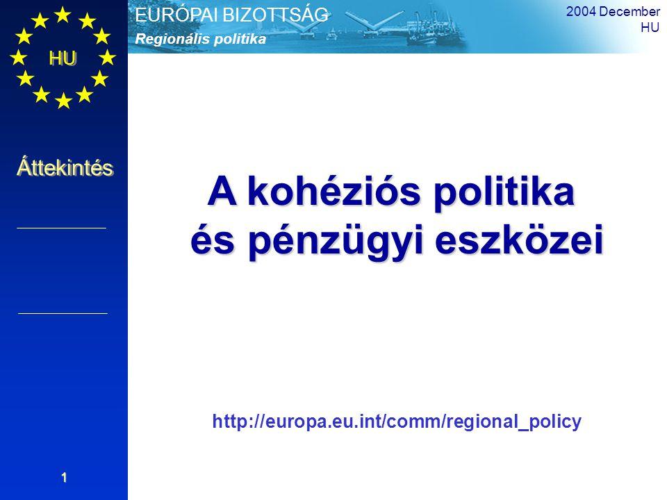 HU Áttekintés Regionális politika EURÓPAI BIZOTTSÁG 2004 December HU 2 40% – 49,9% az EU lakosságának ekkora hányada él támogatható területen (1.
