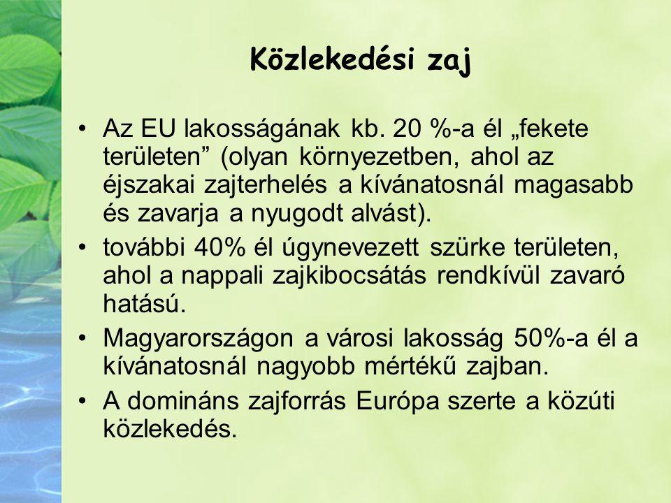 Közlekedési zaj Az EU lakosságának kb.