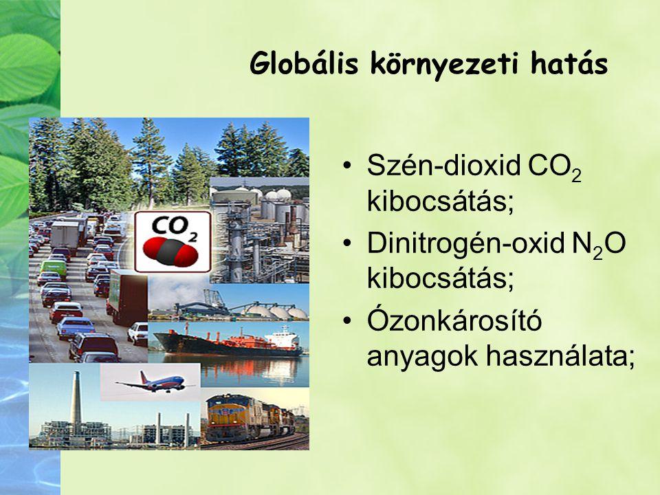 Globális környezeti hatás Szén-dioxid CO 2 kibocsátás; Dinitrogén-oxid N 2 O kibocsátás; Ózonkárosító anyagok használata;