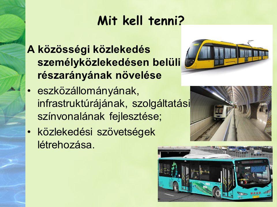 Mit kell tenni? A közösségi közlekedés személyközlekedésen belüli részarányának növelése eszközállományának, infrastruktúrájának, szolgáltatási színvo
