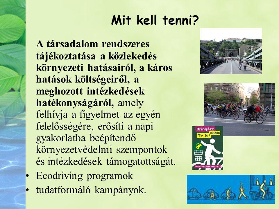 Mit kell tenni? A társadalom rendszeres tájékoztatása a közlekedés környezeti hatásairól, a káros hatások költségeiről, a meghozott intézkedések haték
