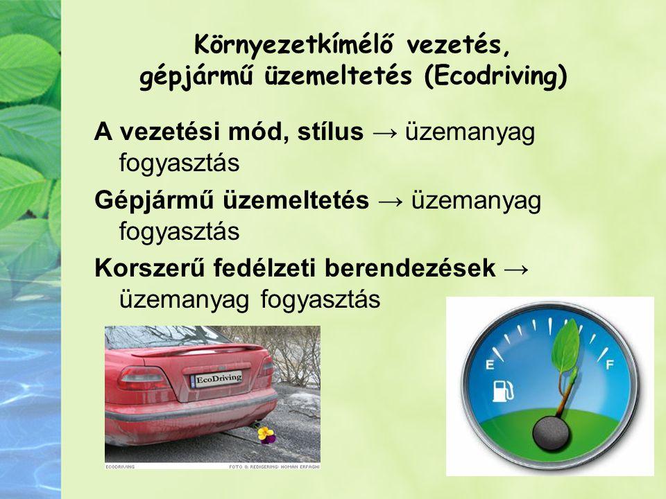 Környezetkímélő vezetés, gépjármű üzemeltetés (Ecodriving) A vezetési mód, stílus → üzemanyag fogyasztás Gépjármű üzemeltetés → üzemanyag fogyasztás Korszerű fedélzeti berendezések → üzemanyag fogyasztás