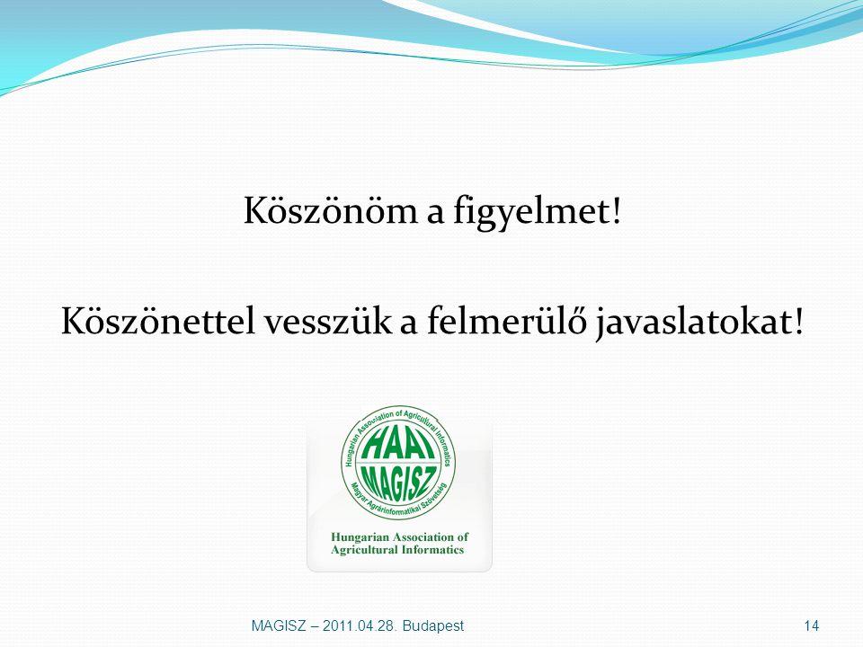Köszönöm a figyelmet! Köszönettel vesszük a felmerülő javaslatokat! MAGISZ – 2011.04.28. Budapest14