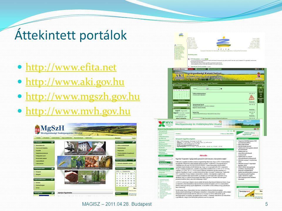 Tudományos portál Portál design, a portál által sugallt kép Funkciók felhasználó menedzsment (adatok frissítése, email) elérhető (külső) tartalom bővíthetőség, modularitás Tartalom Web 2.0 – közösségi hálózat MAGISZ – 2011.04.28.