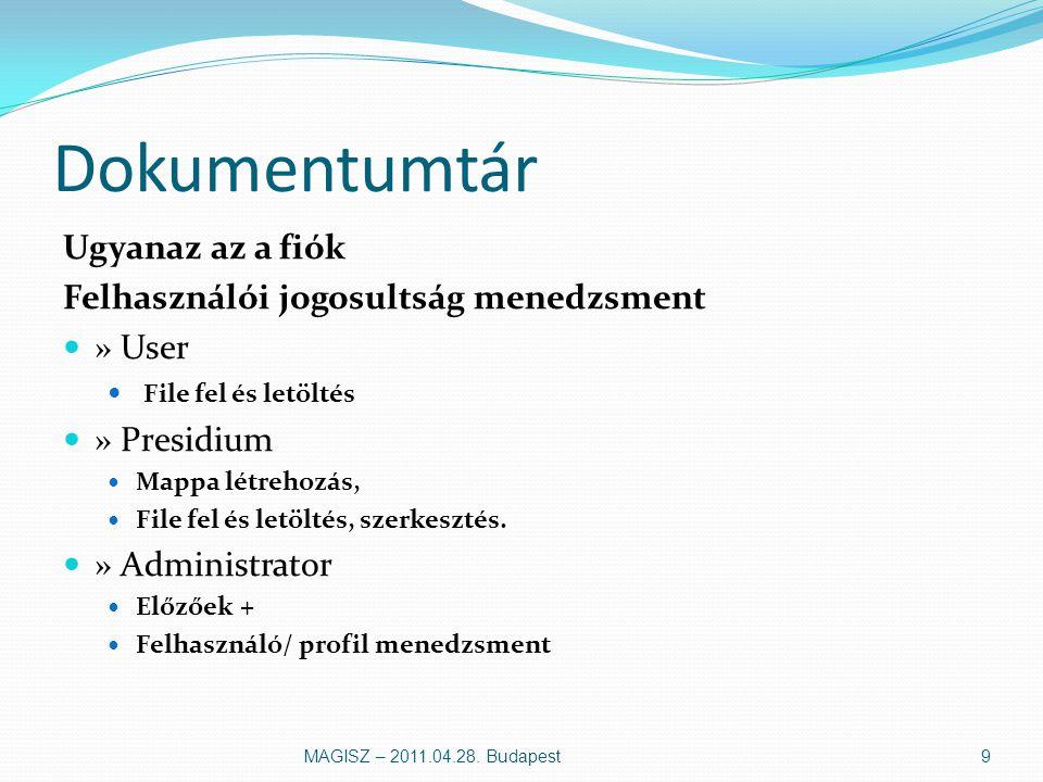 Dokumentumtár Ugyanaz az a fiók Felhasználói jogosultság menedzsment » User File fel és letöltés » Presidium Mappa létrehozás, File fel és letöltés, szerkesztés.