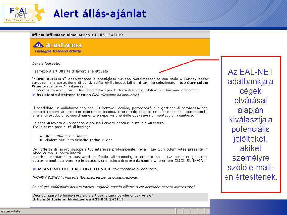 Alert állás-ajánlat Az EAL-NET adatbankja a cégek elvárásai alapján kiválasztja a potenciális jelölteket, akiket személyre szóló e-mail- en értesítenek.