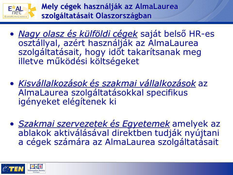 Mely cégek használják az AlmaLaurea szolgáltatásait Olaszországban Nagy olasz és külföldi cégekNagy olasz és külföldi cégek saját belső HR-es osztállyal, azért használják az AlmaLaurea szolgáltatásait, hogy időt takarítsanak meg illetve működési költségeket Kisvállalkozások és szakmai vállalkozásokKisvállalkozások és szakmai vállalkozások az AlmaLaurea szolgáltatásokkal specifikus igényeket elégítenek ki Szakmai szervezetek és EgyetemekSzakmai szervezetek és Egyetemek amelyek az ablakok aktiválásával direktben tudják nyújtani a cégek számára az AlmaLaurea szolgáltatásait