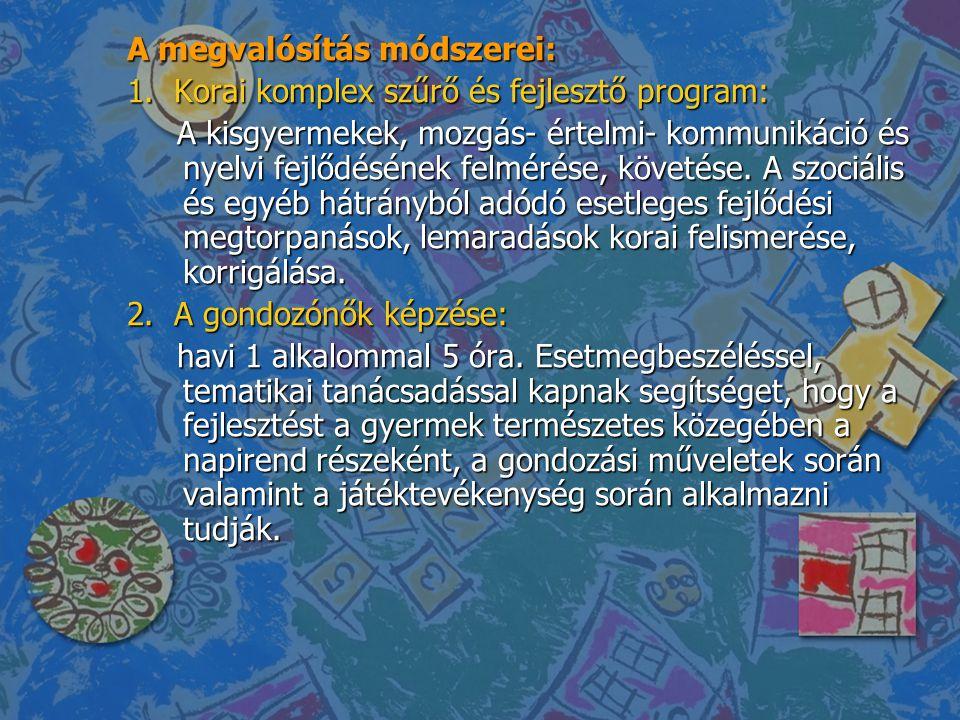 A megvalósítás módszerei: 1. Korai komplex szűrő és fejlesztő program: A kisgyermekek, mozgás- értelmi- kommunikáció és nyelvi fejlődésének felmérése,