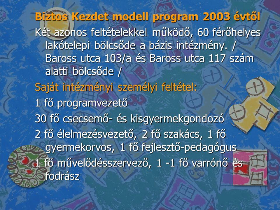 Biztos Kezdet modell program 2003 évtől Két azonos feltételekkel működő, 60 férőhelyes lakótelepi bölcsőde a bázis intézmény. / Baross utca 103/a és B