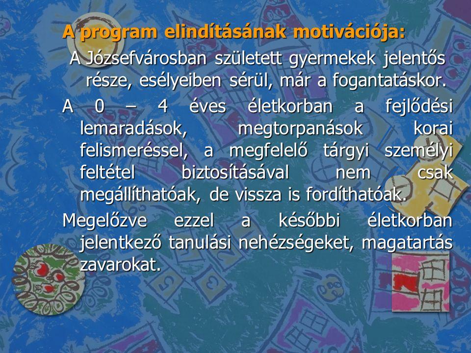 A program elindításának motivációja: A Józsefvárosban született gyermekek jelentős része, esélyeiben sérül, már a fogantatáskor. A 0 – 4 éves életkorb