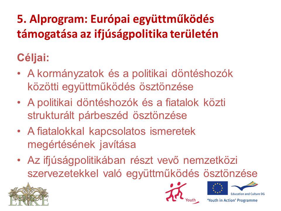 5. Alprogram: Európai együttműködés támogatása az ifjúságpolitika területén Céljai: A kormányzatok és a politikai döntéshozók közötti együttműködés ös