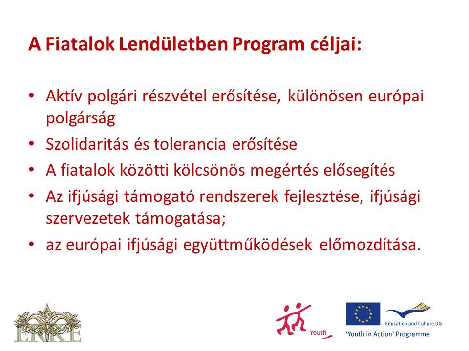 A Fiatalok Lendületben Program céljai: Aktív polgári részvétel erősítése, különösen európai polgárság Szolidaritás és tolerancia erősítése A fiatalok közötti kölcsönös megértés elősegítés Az ifjúsági támogató rendszerek fejlesztése, ifjúsági szervezetek támogatása; az európai ifjúsági együttműködések előmozdítása.
