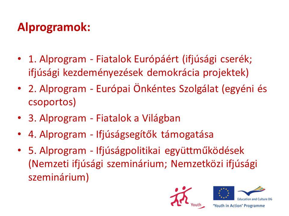 Alprogramok: 1. Alprogram - Fiatalok Európáért (ifjúsági cserék; ifjúsági kezdeményezések demokrácia projektek) 2. Alprogram - Európai Önkéntes Szolgá
