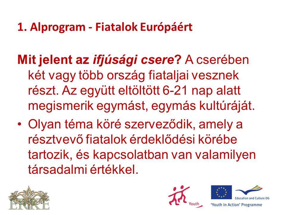 1. Alprogram - Fiatalok Európáért Mit jelent az ifjúsági csere? A cserében két vagy több ország fiataljai vesznek részt. Az együtt eltöltött 6-21 nap