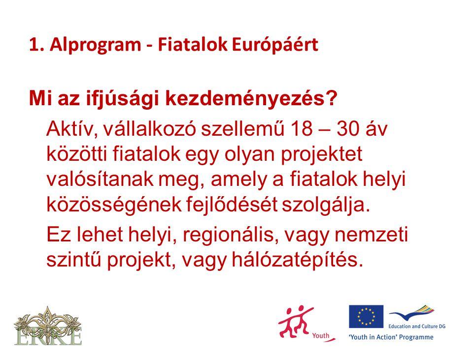 1. Alprogram - Fiatalok Európáért Mi az ifjúsági kezdeményezés.